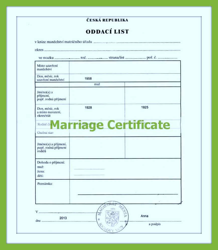 Marriage Certificate Translation Within Marriage Certificate Translation From Spanish To English Template