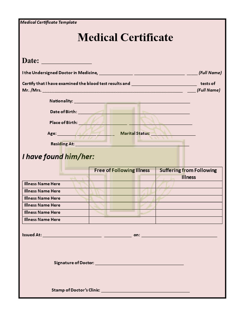 Medical Certificate Template | Templates At Throughout Fit To Fly Certificate Template