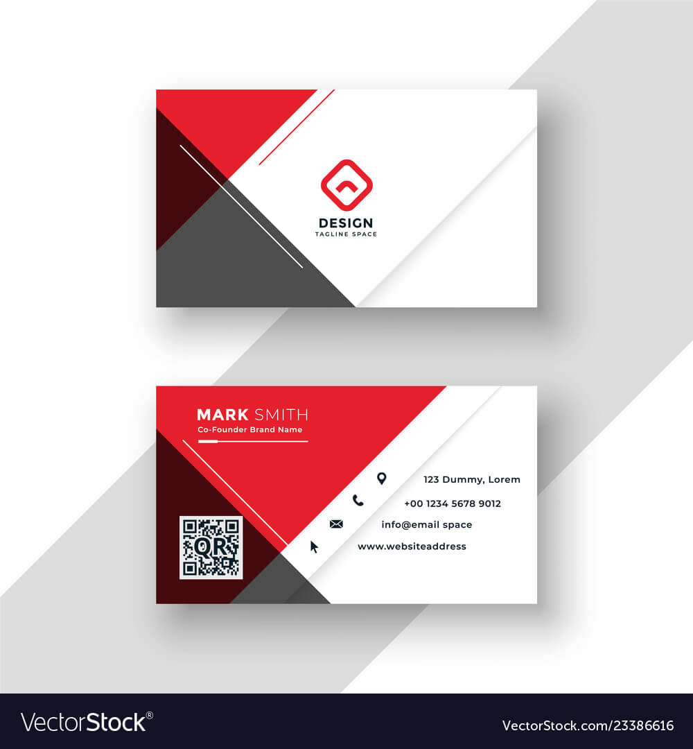 Minimal Red Business Card Template Design Intended For Visiting Card Illustrator Templates Download