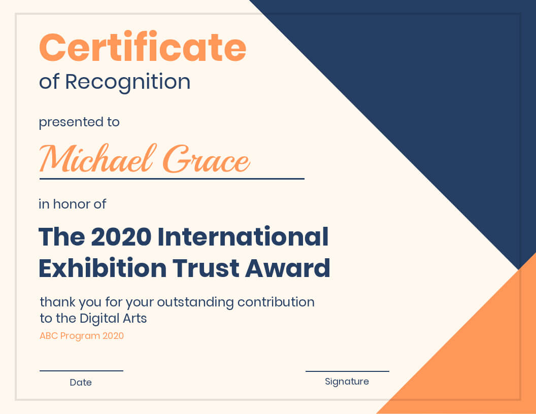 Modern Certificate Of Recognition Template Within Volunteer Award Certificate Template