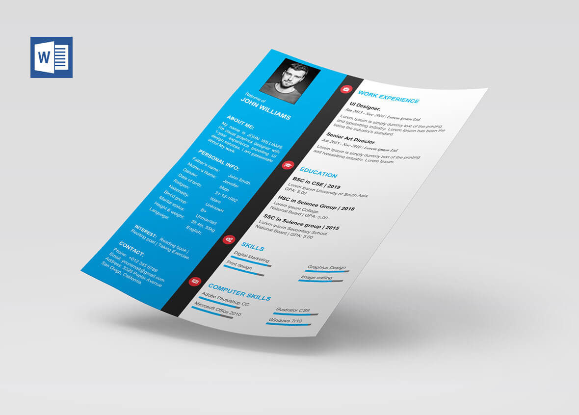 Modern Cv Template Word Free Download – Resumekraft For Free Brochure Templates For Word 2010