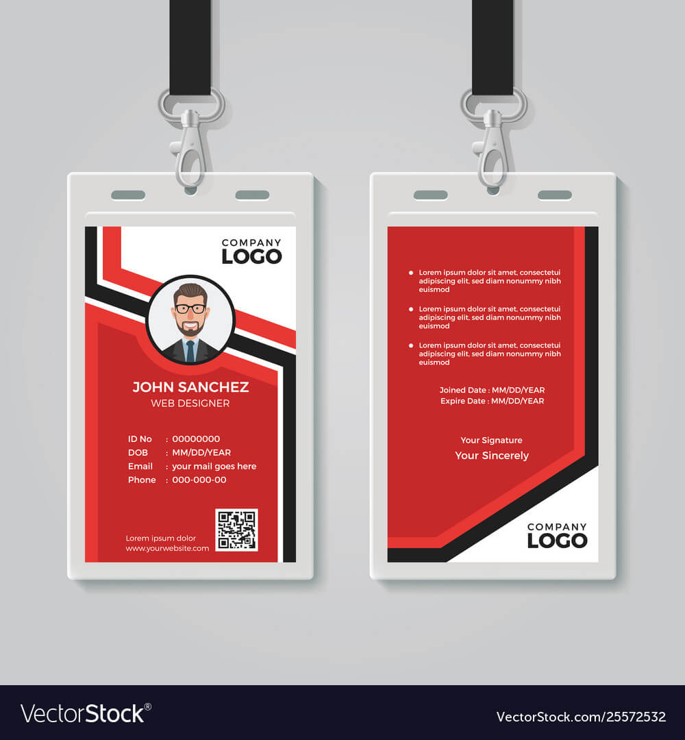 Modern Red Id Card Template Intended For Personal Identification Card Template