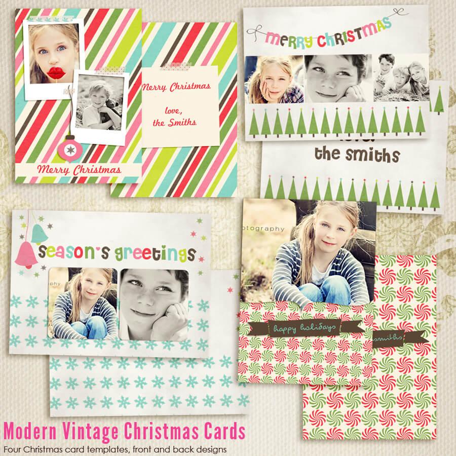Modern Vintage Christmas Card Templates For Photographers In Free Photoshop Christmas Card Templates For Photographers