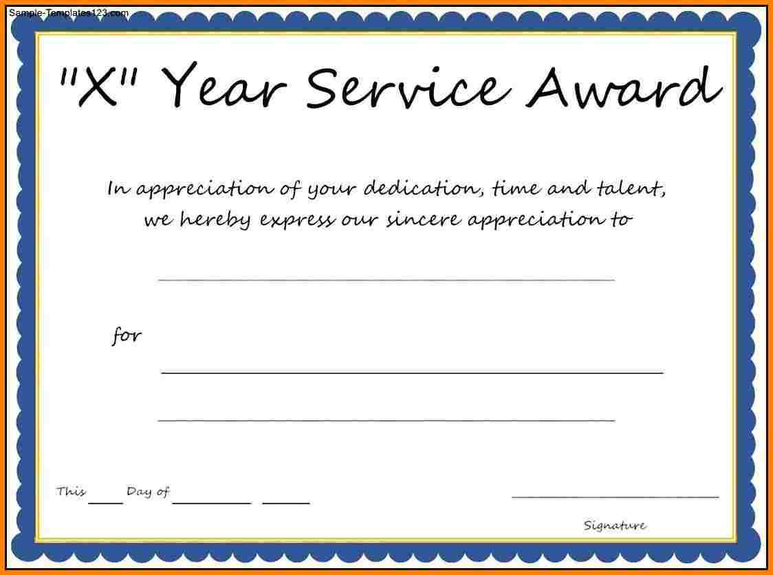 Multi Year Service Award Certificate Template Pertaining To Certificate For Years Of Service Template