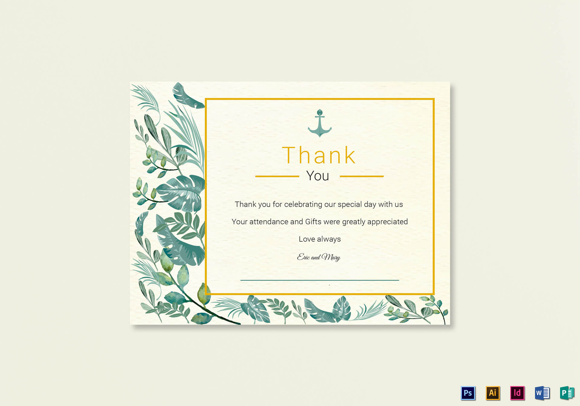 Nautical Thank You Card Template Throughout Thank You Card Template Word