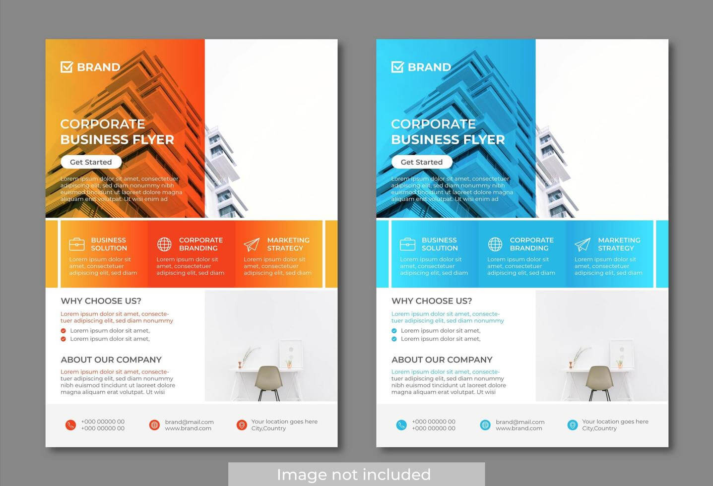 Orange And Blue Modern And Clean Business Flyer Templates Within Cleaning Brochure Templates Free