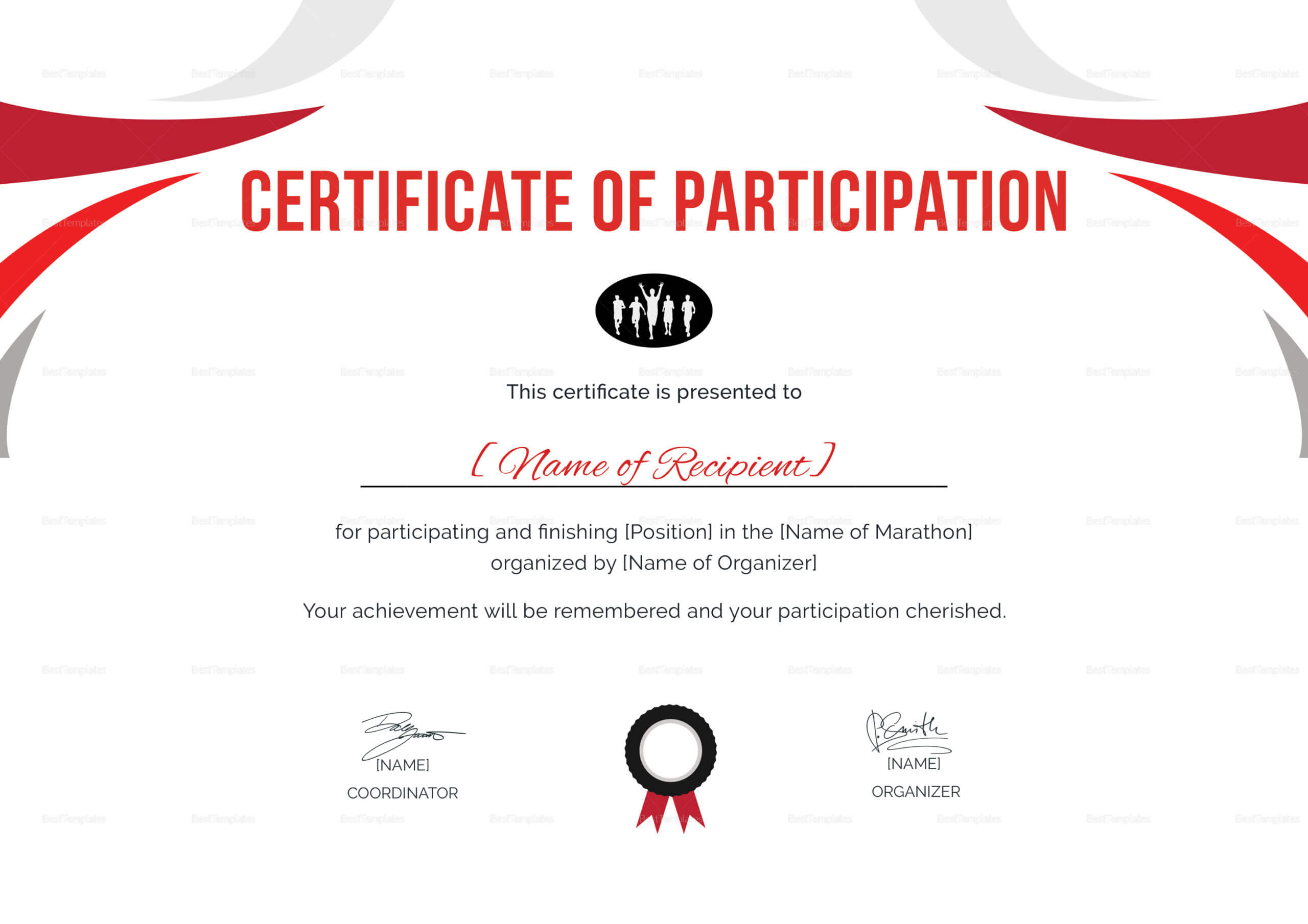 Participation Certificate For Running Template Intended For Running Certificates Templates Free