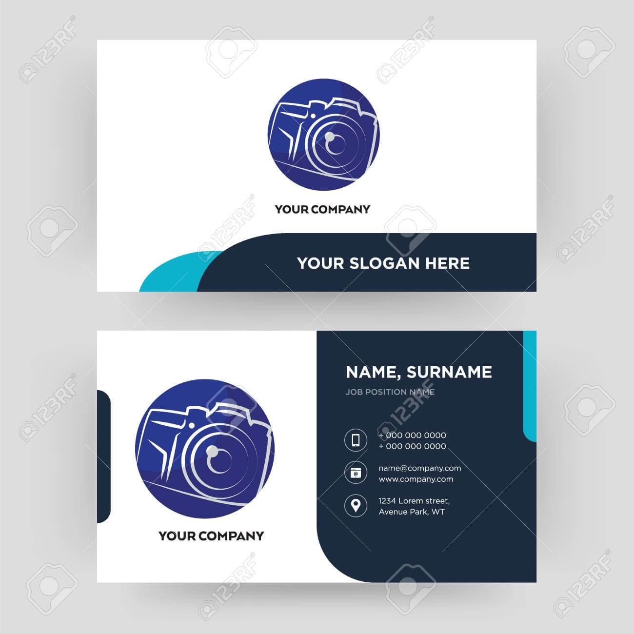 Photography Camera, Business Card Design Template, Visiting For.. Throughout Photographer Id Card Template