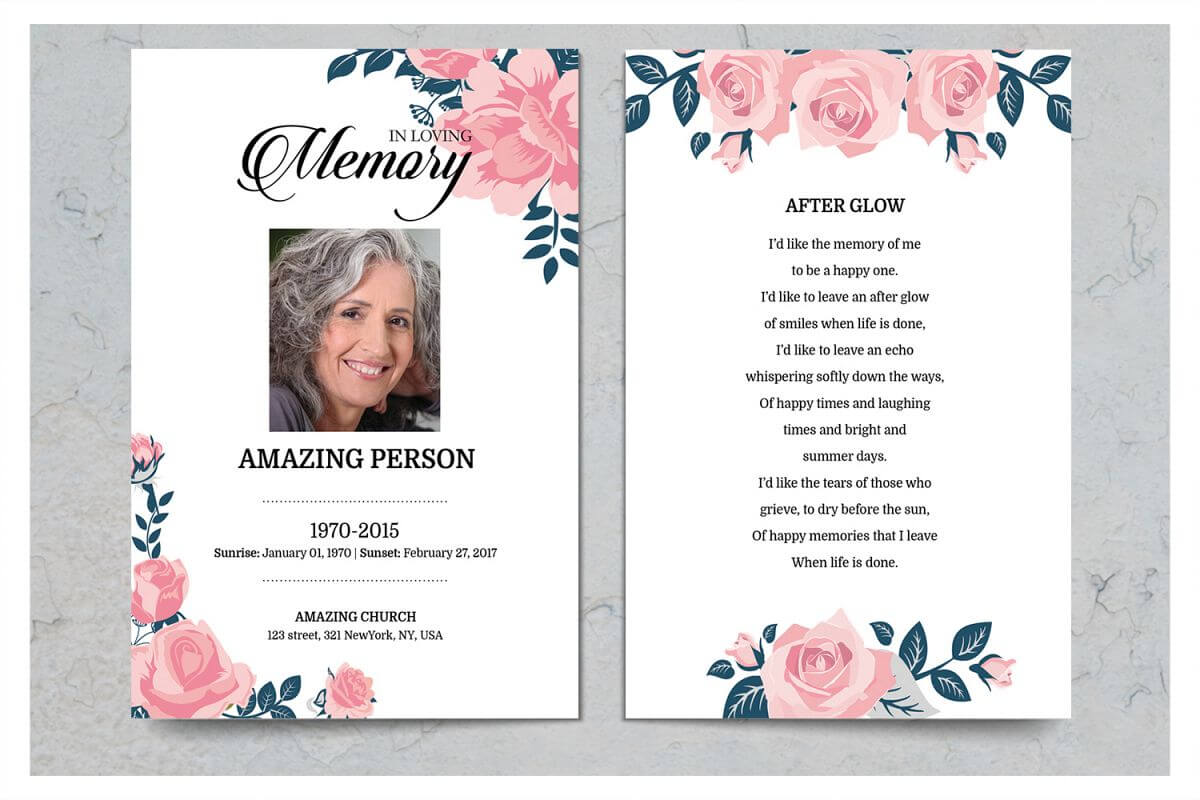 Pink Flower Funeral Prayer Card Template With Prayer Card Template For Word