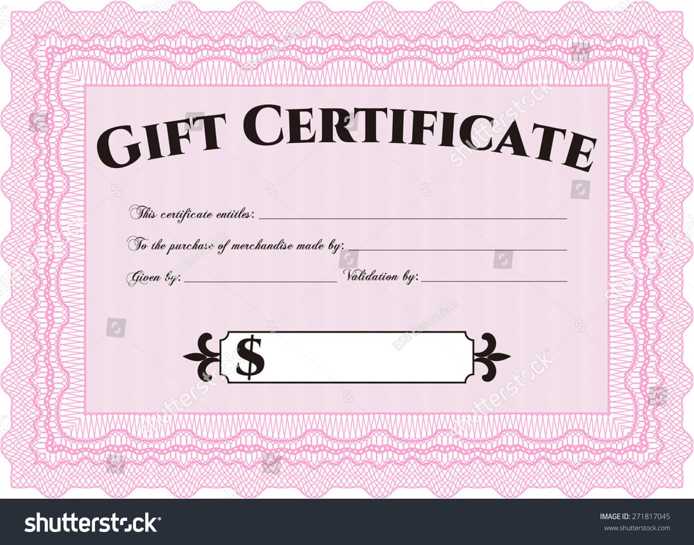 Pink Gift Certificate Template Stock Vector (Royalty Free For Pink Gift Certificate Template