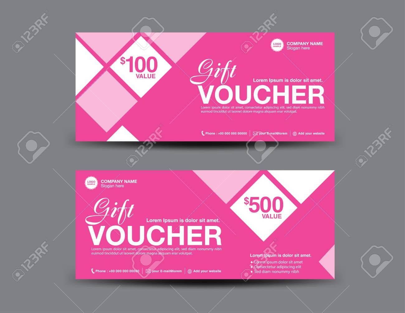 Pink Gift Voucher Template, Coupon Design, Certificate, Ticket.. Pertaining To Pink Gift Certificate Template