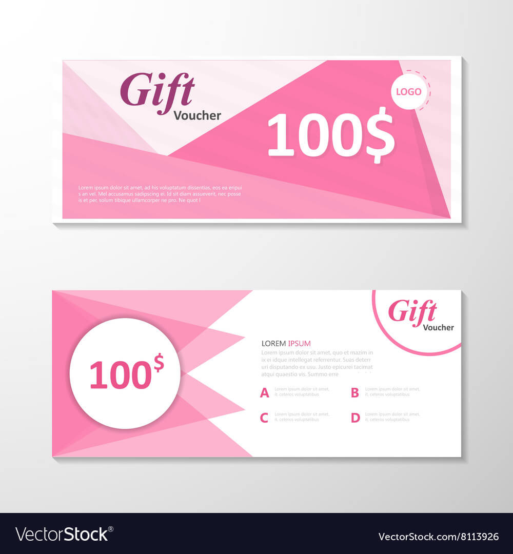 Pink Gift Voucher Template Layout Design Set Intended For Pink Gift Certificate Template
