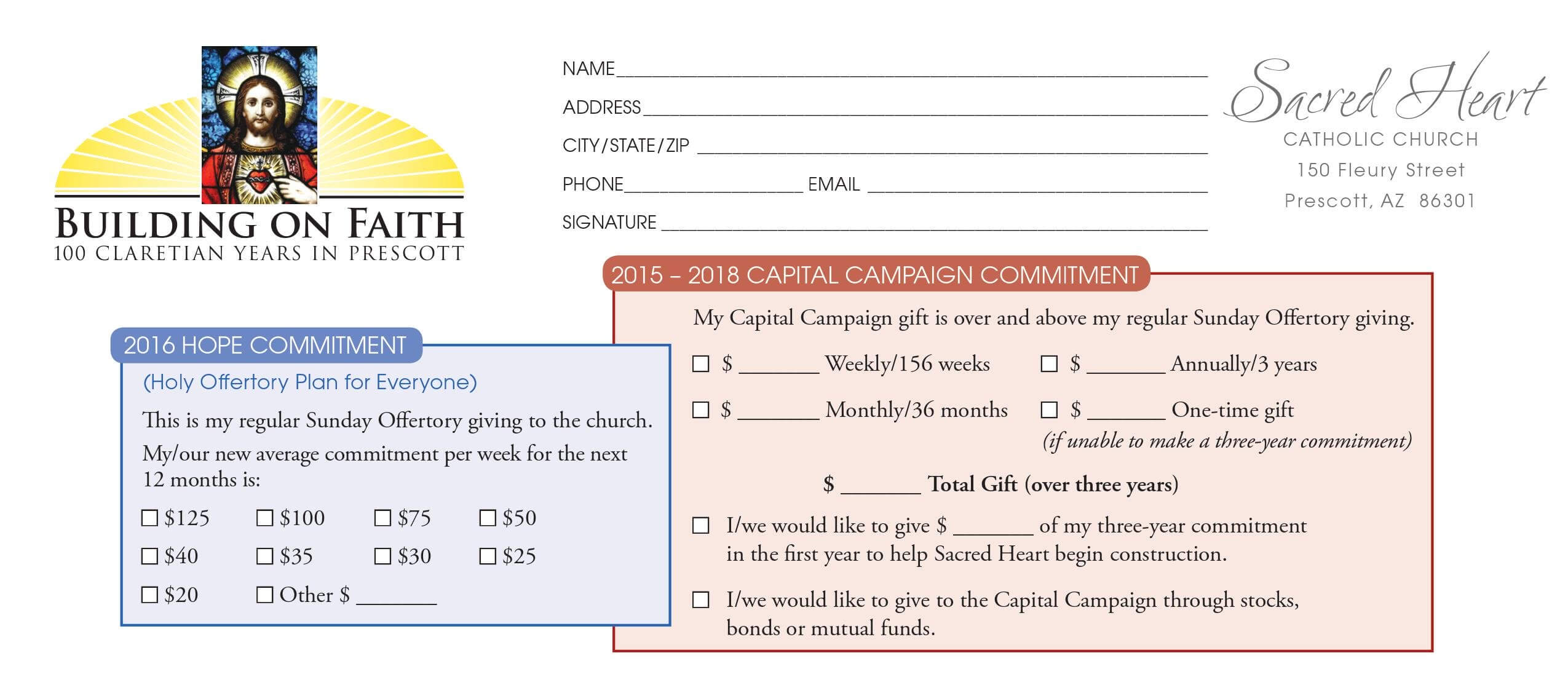 Pledge Card Examples – Calep.midnightpig.co With Regard To Free Pledge Card Template