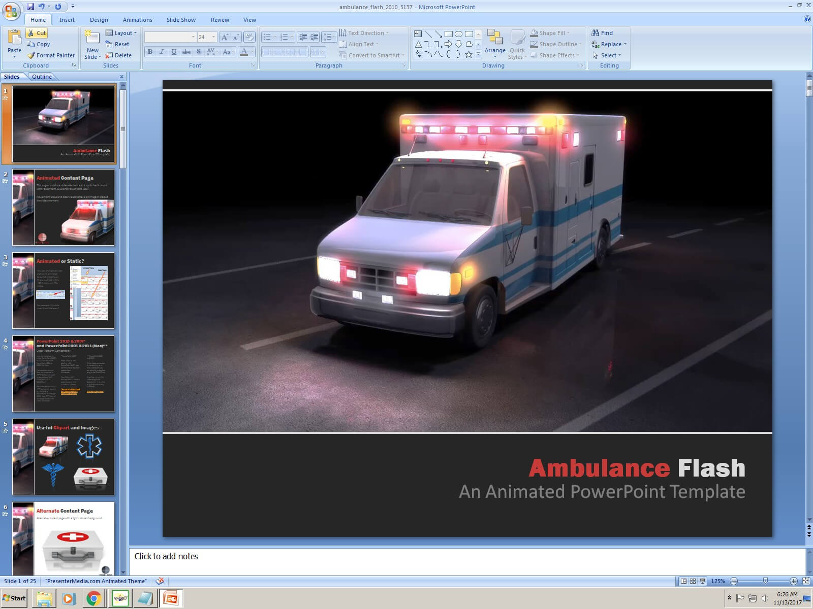 Powerpoint: Ambulance Flash Presentation Template With Ambulance Powerpoint Template