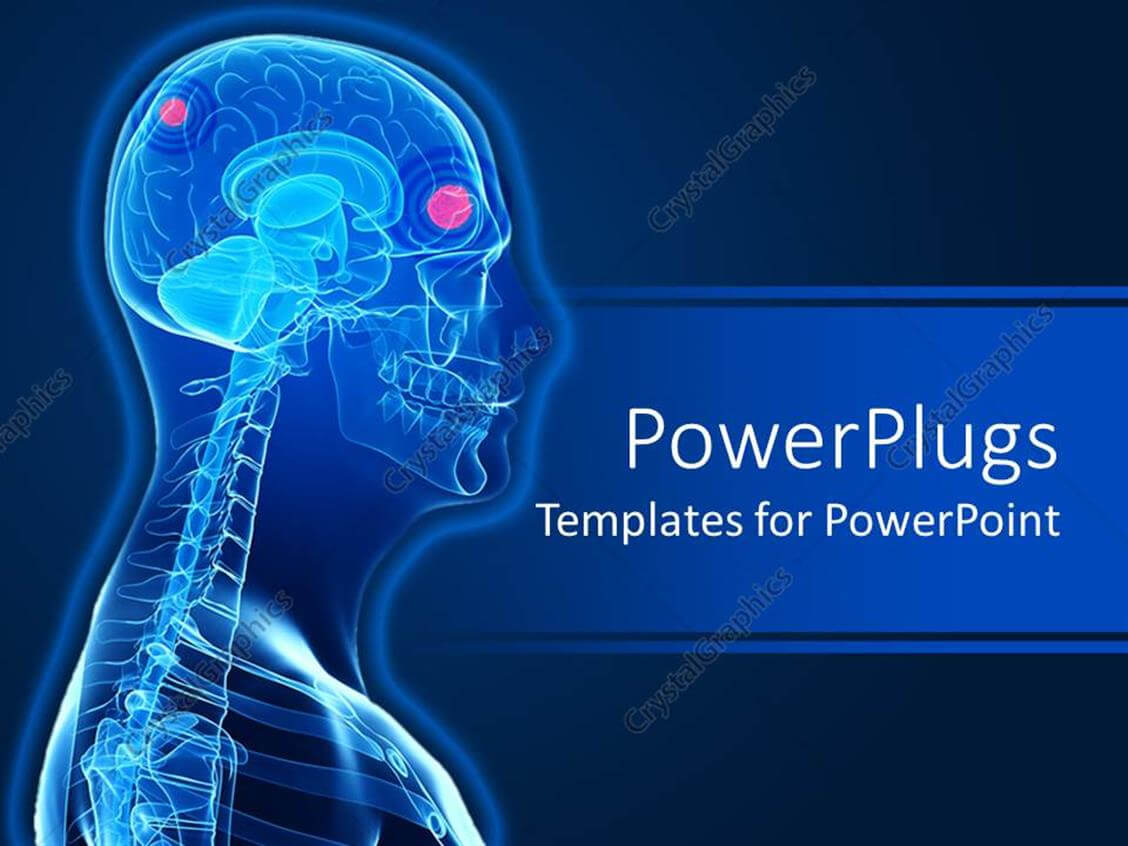 Powerpoint Template: A 3D Human Character Showing The Brain For Radiology Powerpoint Template