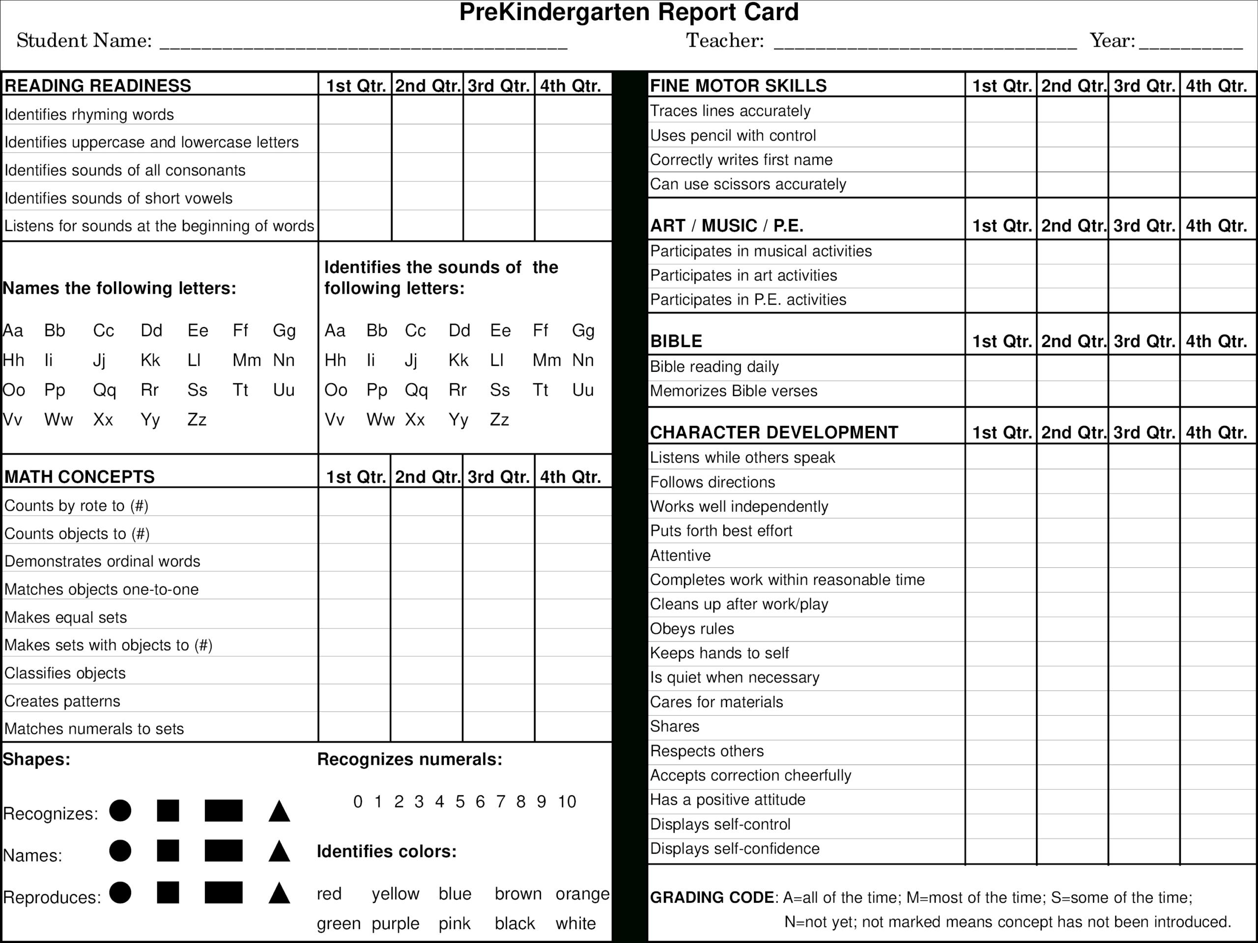 Preschool Report Card Main Image – Preschool Progress Report For Character Report Card Template