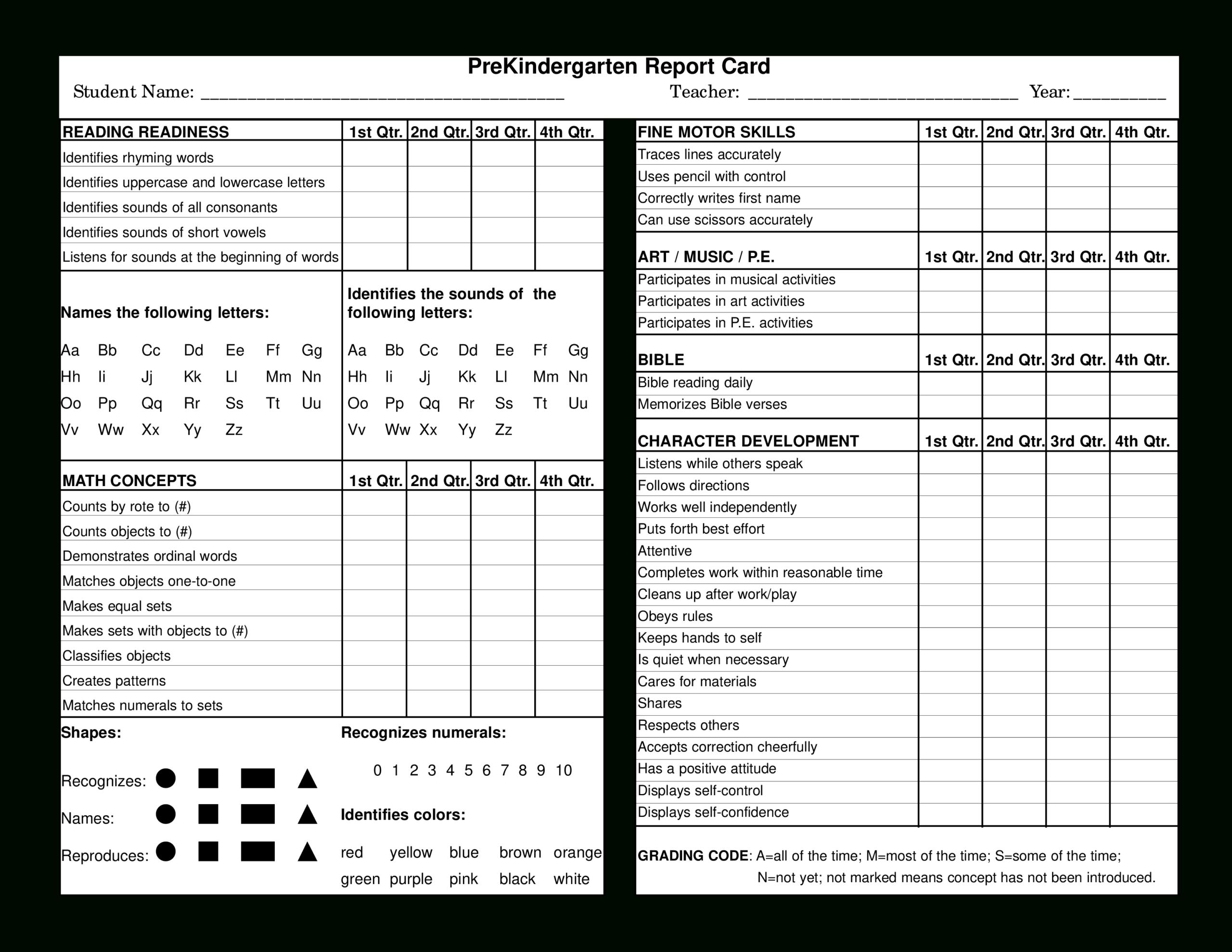 Preschool Report Card | Templates At Allbusinesstemplates Intended For Character Report Card Template