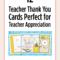 Printable Teacher Thank You Cards For Teacher Appreciation Intended For Thank You Card For Teacher Template
