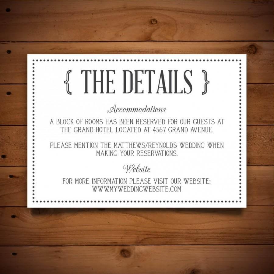 Printable Vintage Wedding Information Card Template - Dark Intended For Wedding Hotel Information Card Template