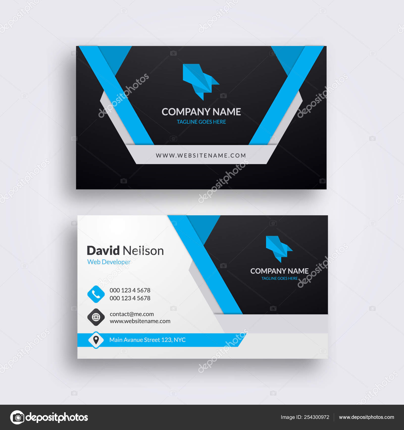 Professional Abstract Business Card Clean Fresh Design Regarding Visiting Card Illustrator Templates Download