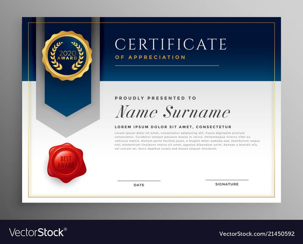 Professional Blue Certificate Template Design Throughout Professional Award Certificate Template