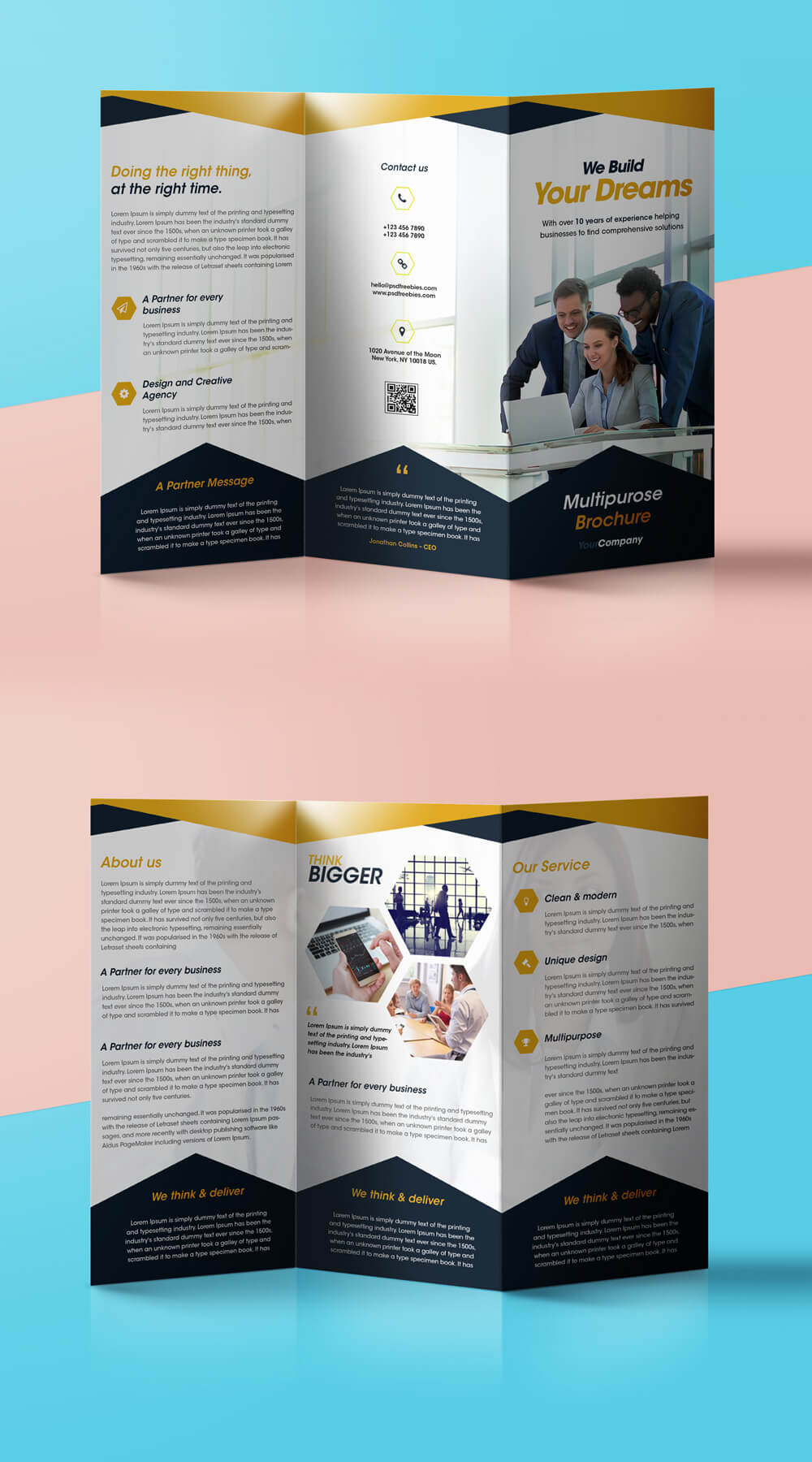 Professional Corporate Tri Fold Brochure Free Psd Template Pertaining To Free Three Fold Brochure Template