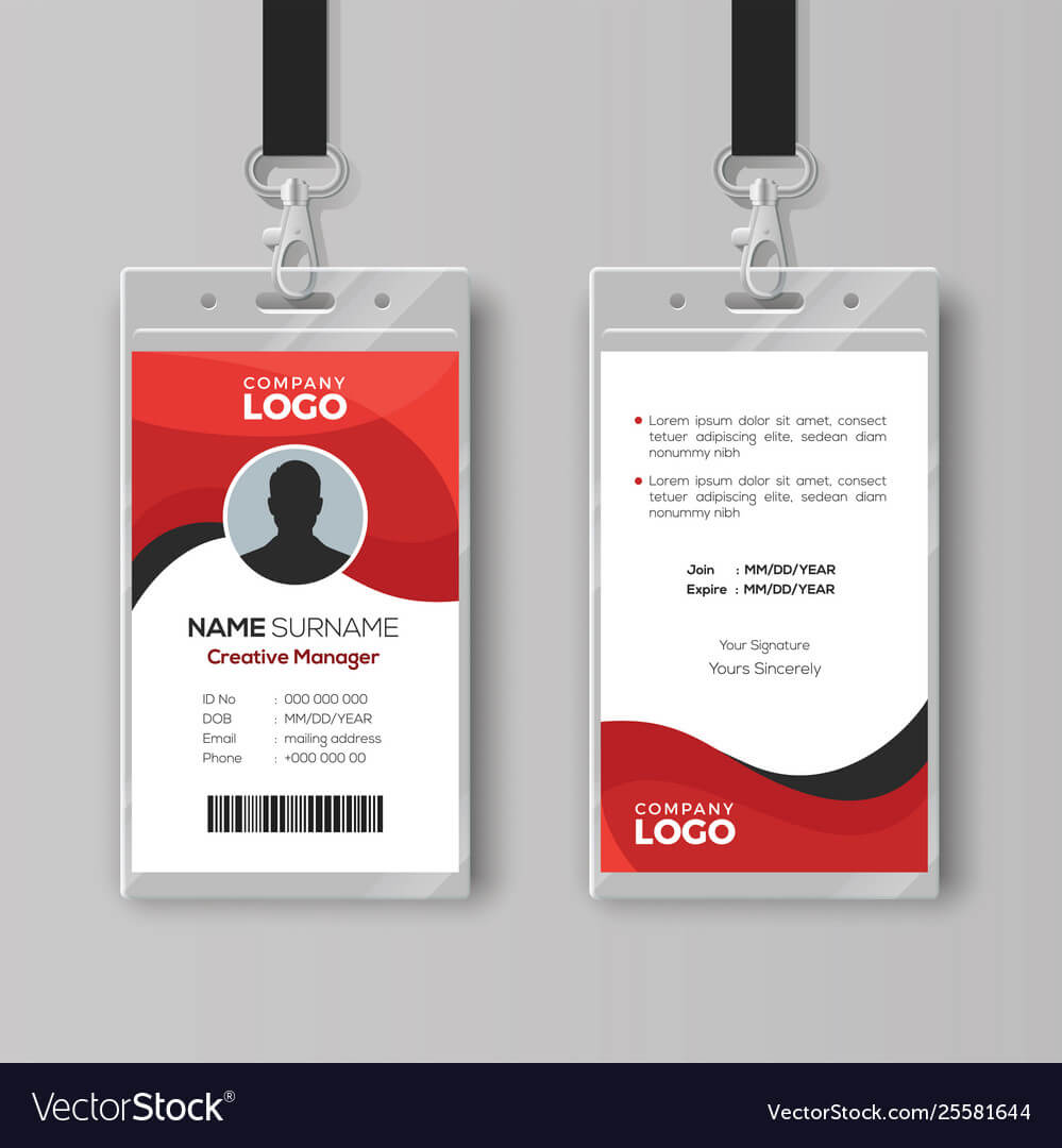 Professional Identity Card Template With Red With Regard To Photographer Id Card Template
