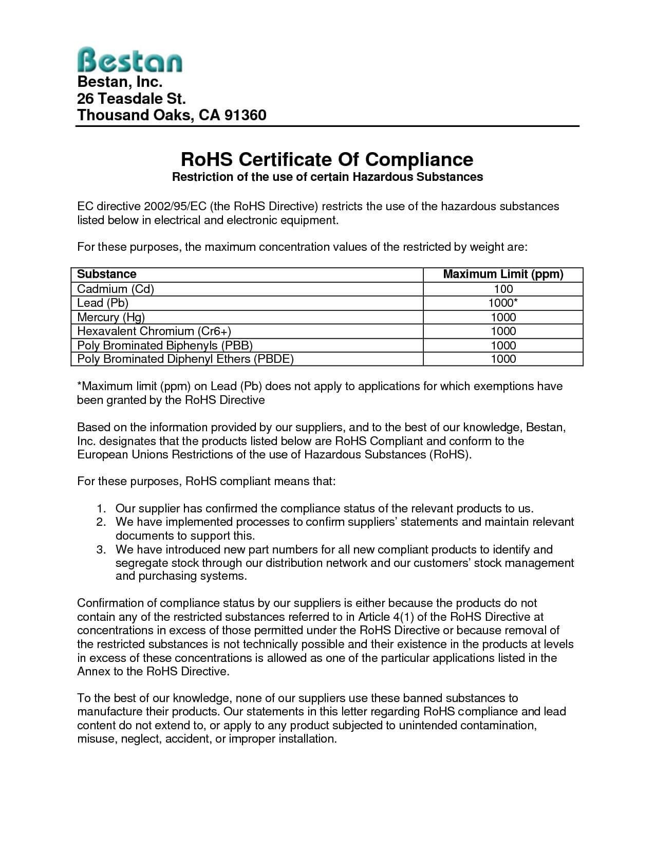 Reach Certificate Of Compliance Template Pliance Regarding Certificate Of Compliance Template