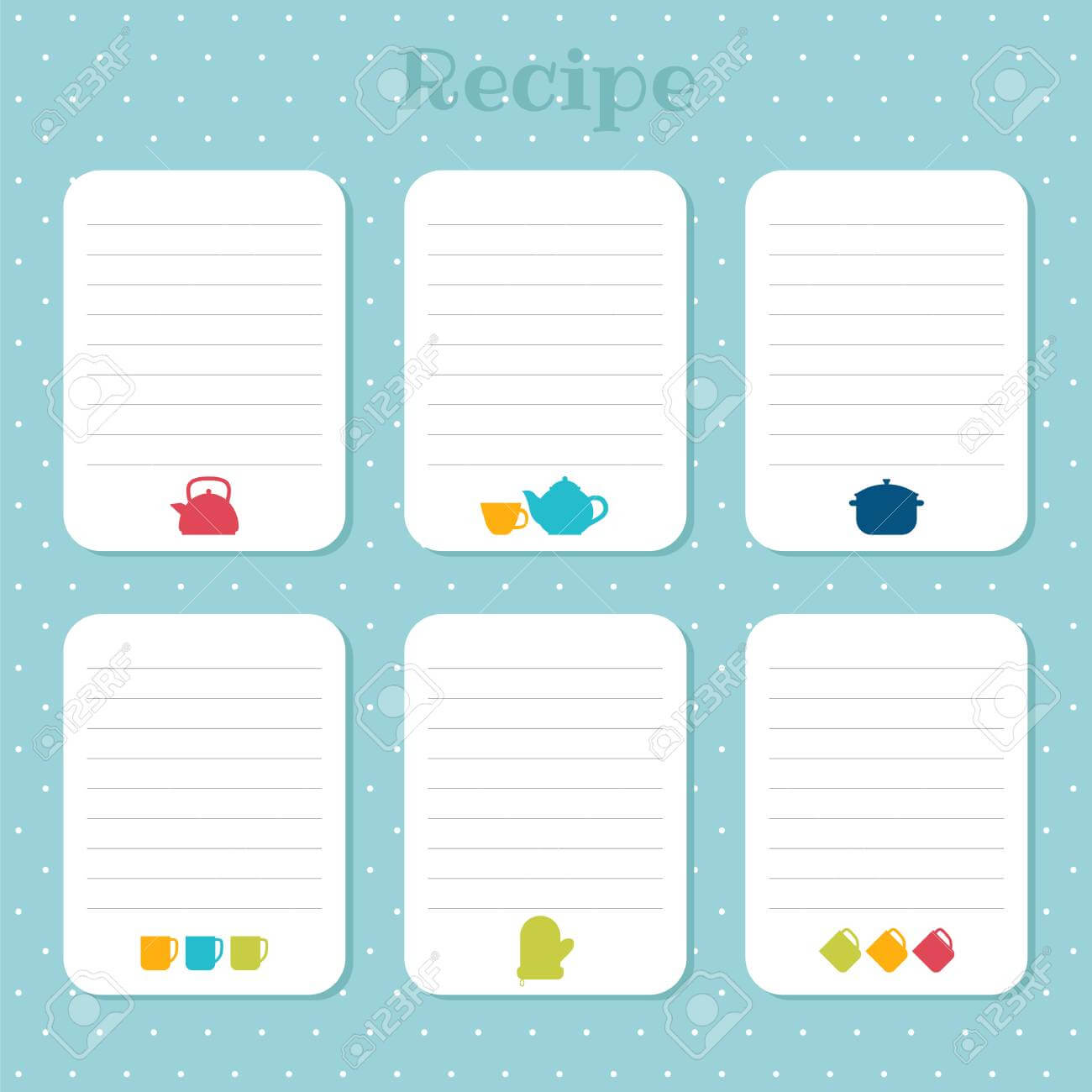 Recipe Cards Set. Cooking Card Templates. For Restaurant, Cafe,.. Intended For Restaurant Recipe Card Template