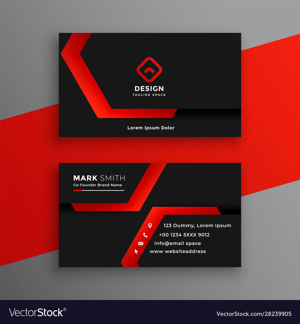 Red And Black Geometric Business Card Template Throughout Visiting Card Illustrator Templates Download