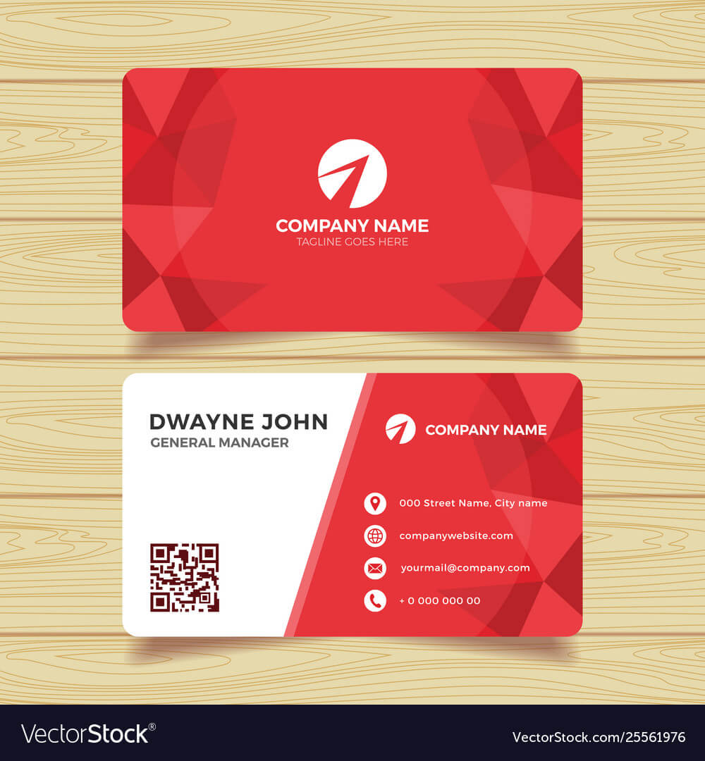 Red Geometric Business Card Template Regarding Template For Calling Card