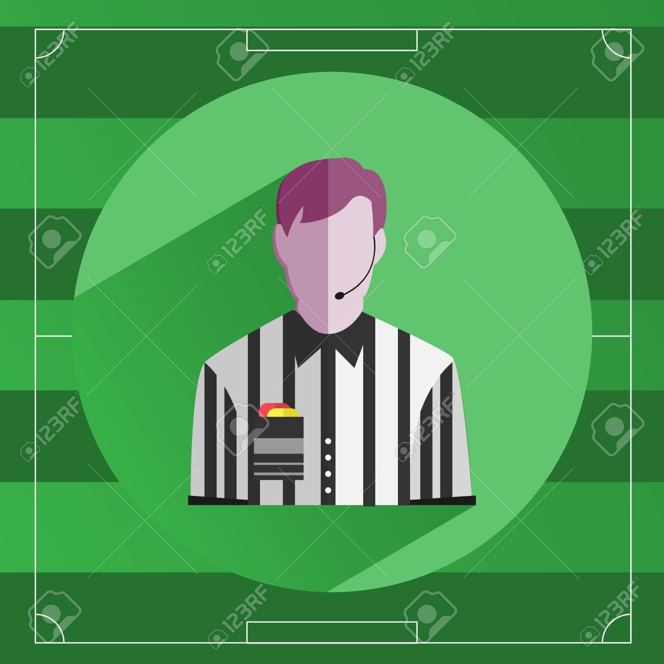 Referee Icon. Referee In Striped Shirt With Red And Yellow Cards.. Within Soccer Referee Game Card Template