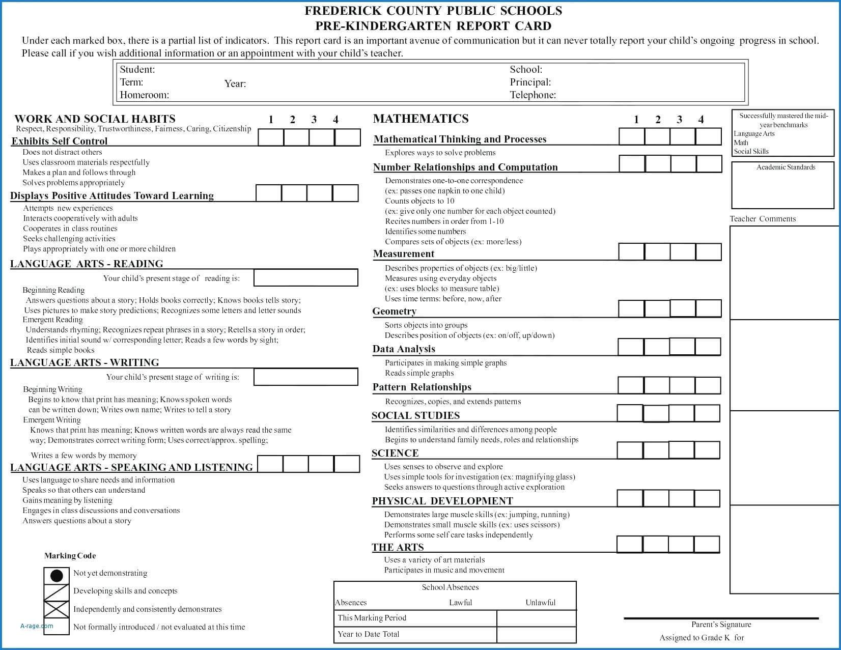 report card sample  calepmidnightpigco with regard to
