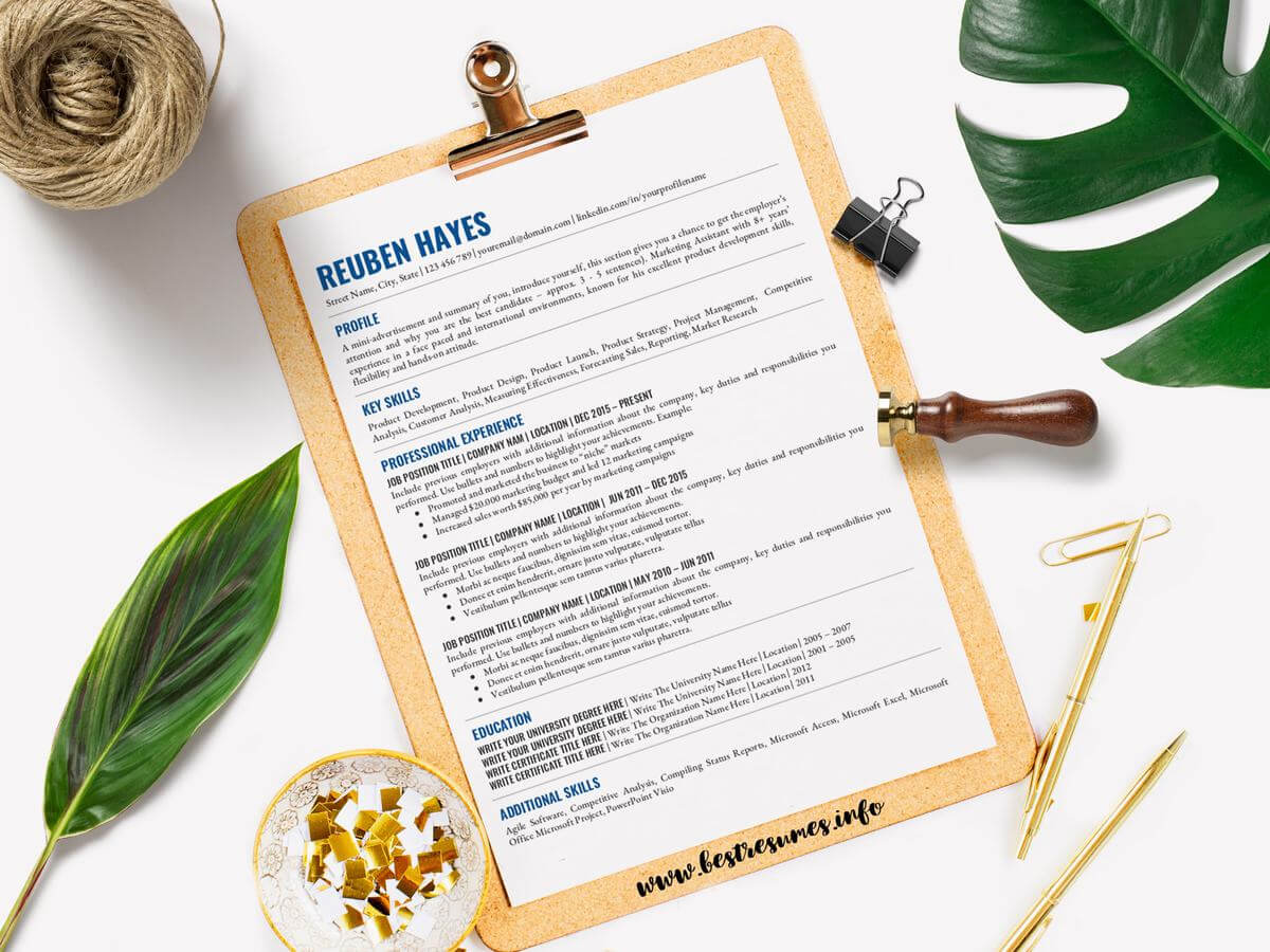 Resume Template Reuben Hayes Throughout Hayes Certificate Templates