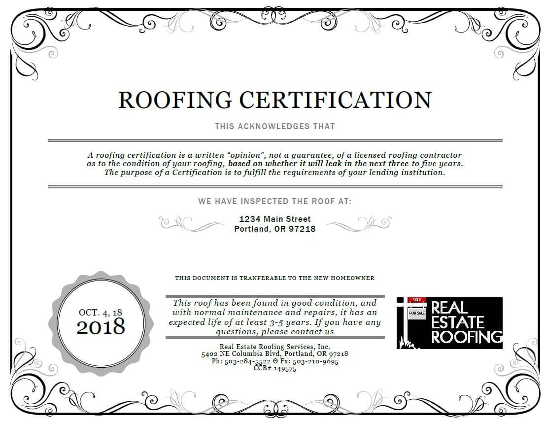 Roof Certification: Sample | Real Estate Roofing In Roof Certification Template