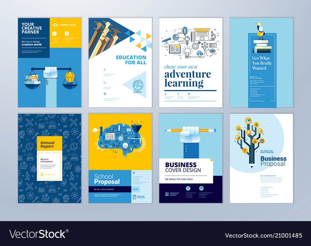 Set Of Brochure Design Templates Of Education With School Brochure Design Templates