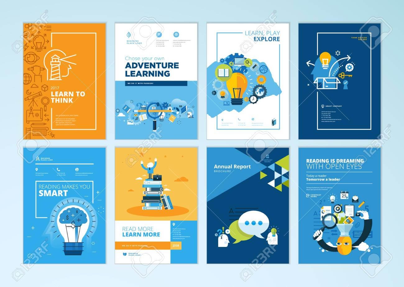 Set Of Brochure Design Templates On The Subject Of Education,.. With Regard To School Brochure Design Templates