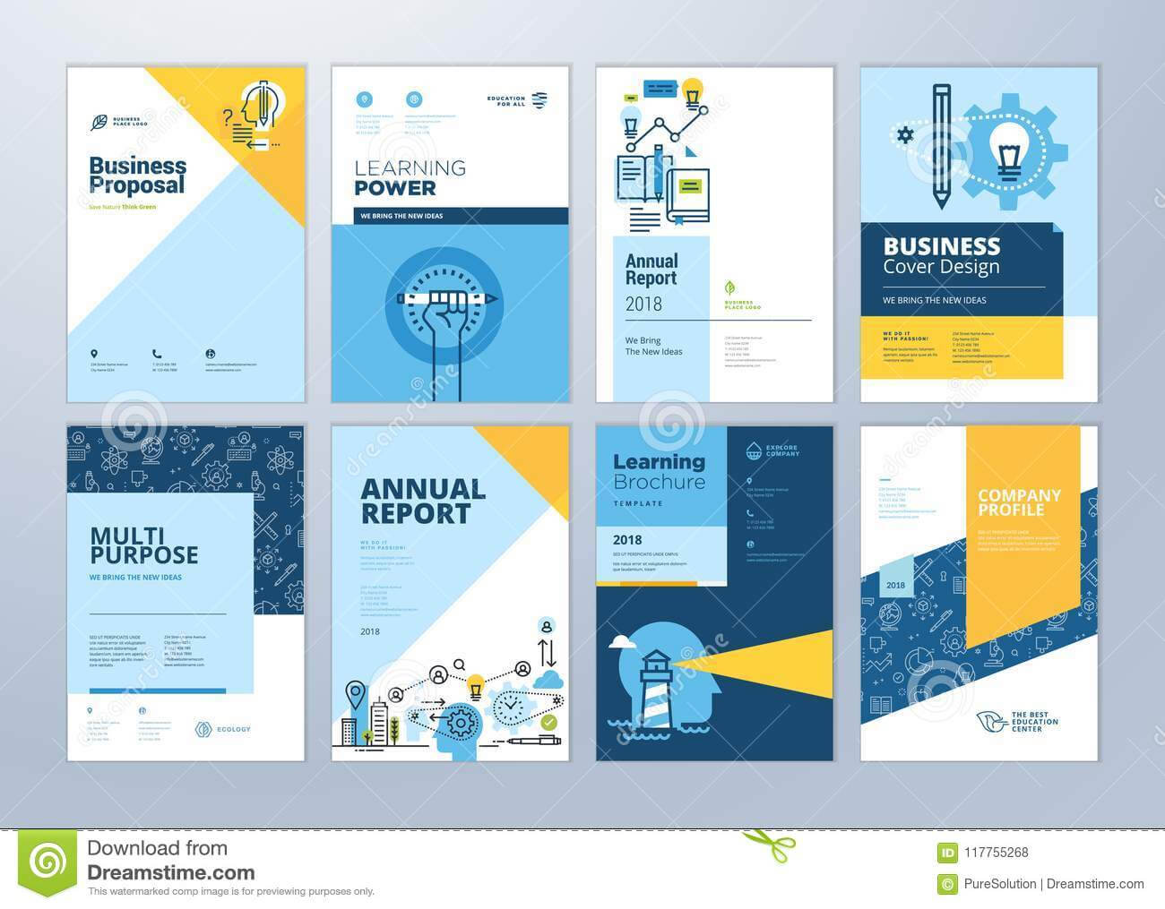 Set Of Brochure Design Templates On The Subject Of Education Within Online Free Brochure Design Templates