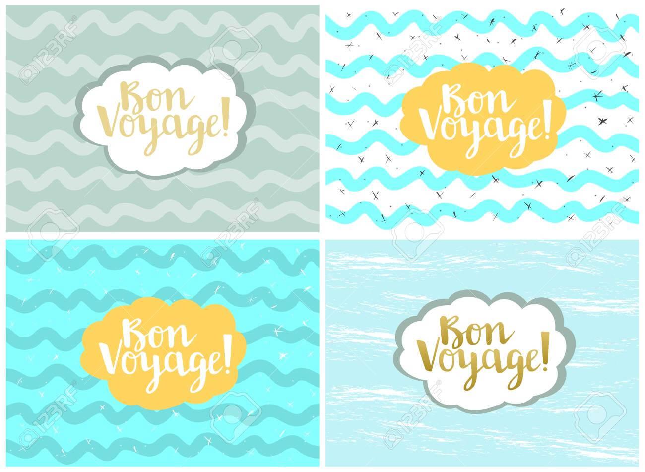Set Of Four Cards, Vector Templates. Bon Voyage. Throughout Bon Voyage Card Template
