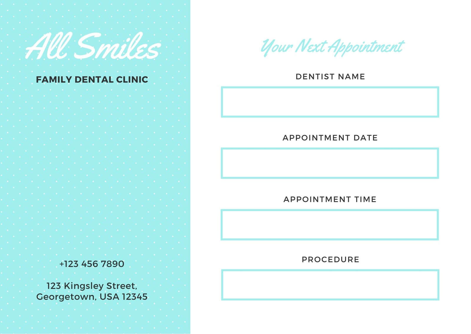 Simple Aqua And White Dentist Appointment Card - Templates For Dentist Appointment Card Template