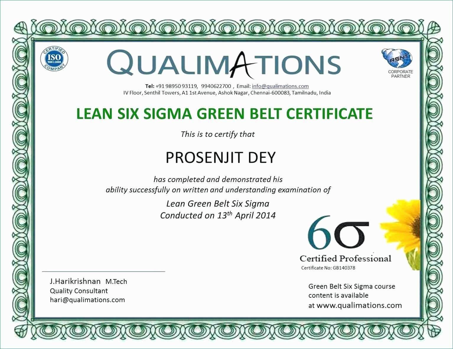 Six Sigma Black Belt Certificate Template - Carlynstudio Pertaining To Green Belt Certificate Template