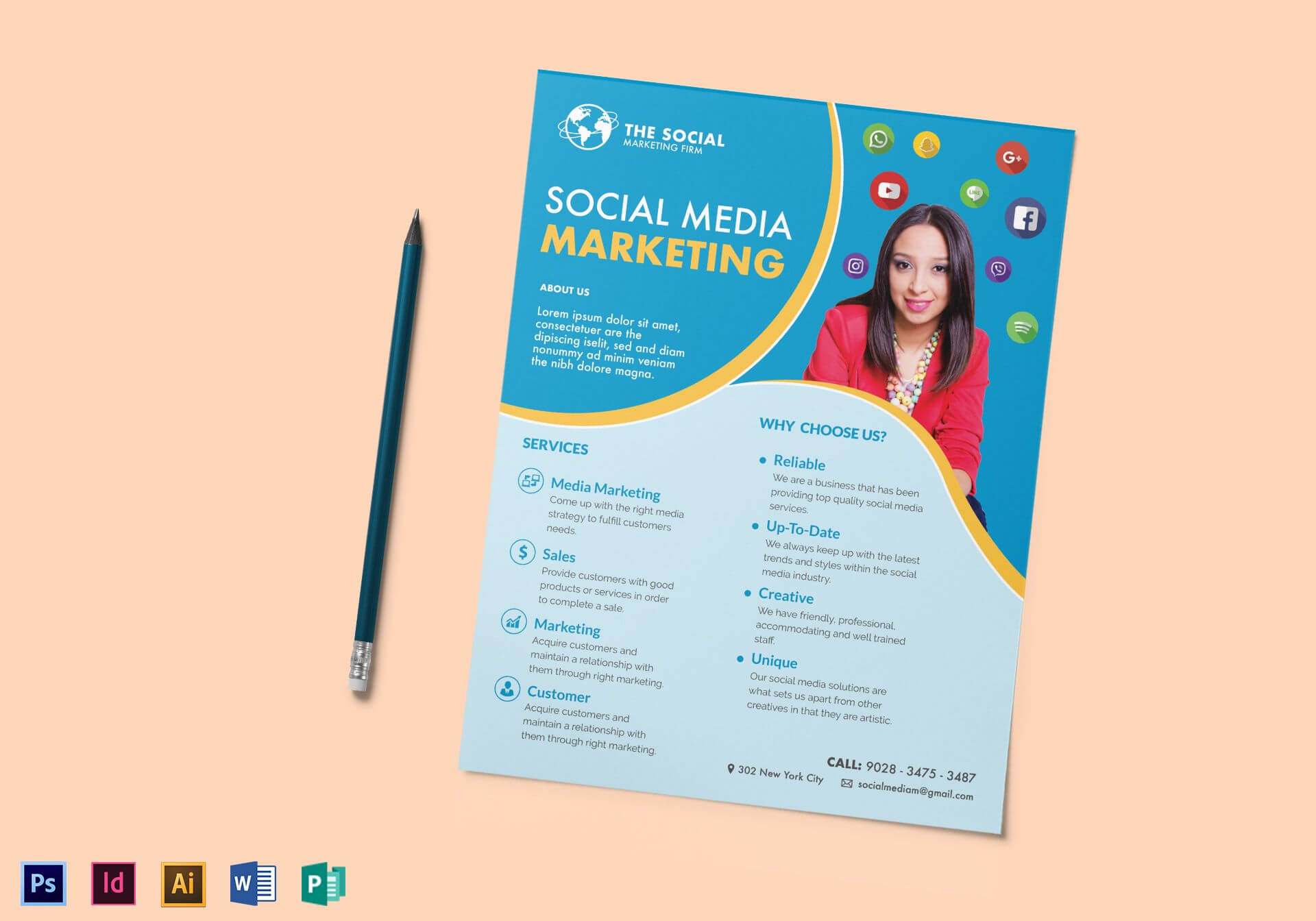 Social Media Marketing Flyer Template For Social Media Brochure Template