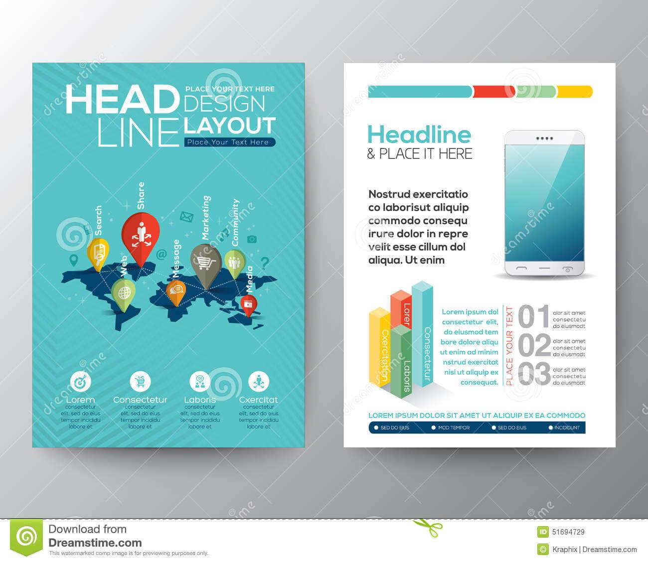 Social Network Concept Brochure Flyer Design Layout Template For Social Media Brochure Template