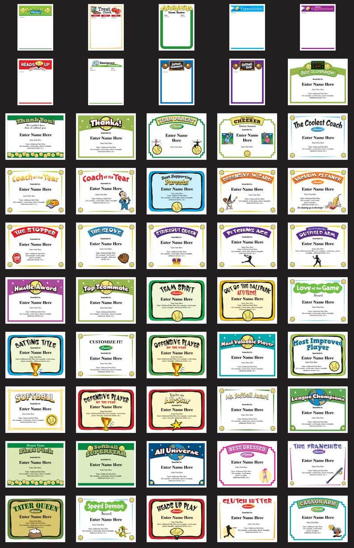 Softball Certificates - Free Award Certificates For Softball Certificate Templates Free