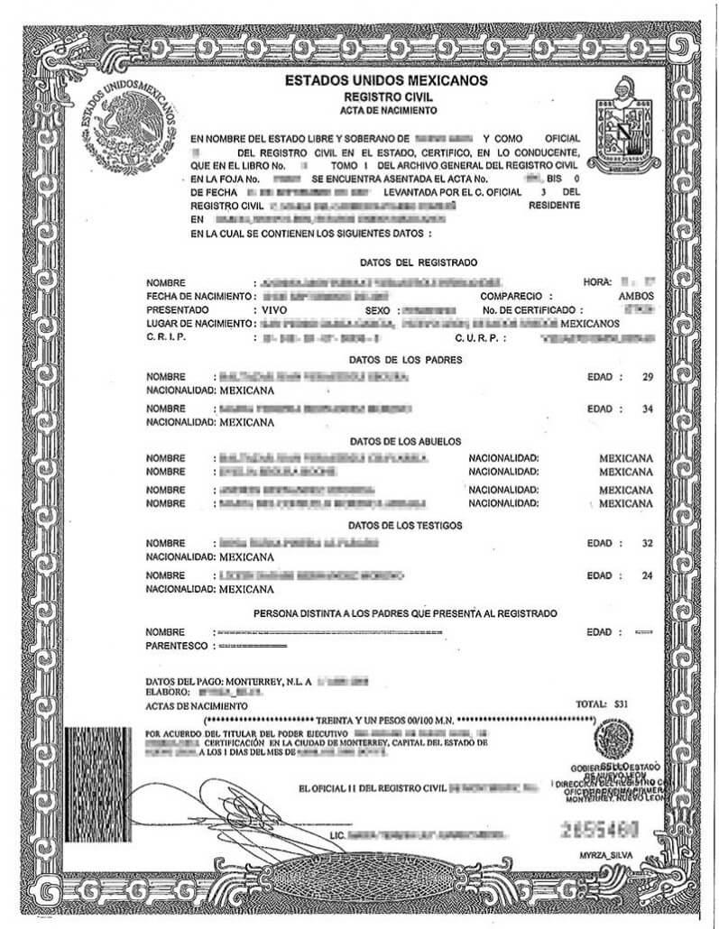 Spanish Birth Certificate Translation | Burg Translations For Birth Certificate Translation Template Uscis