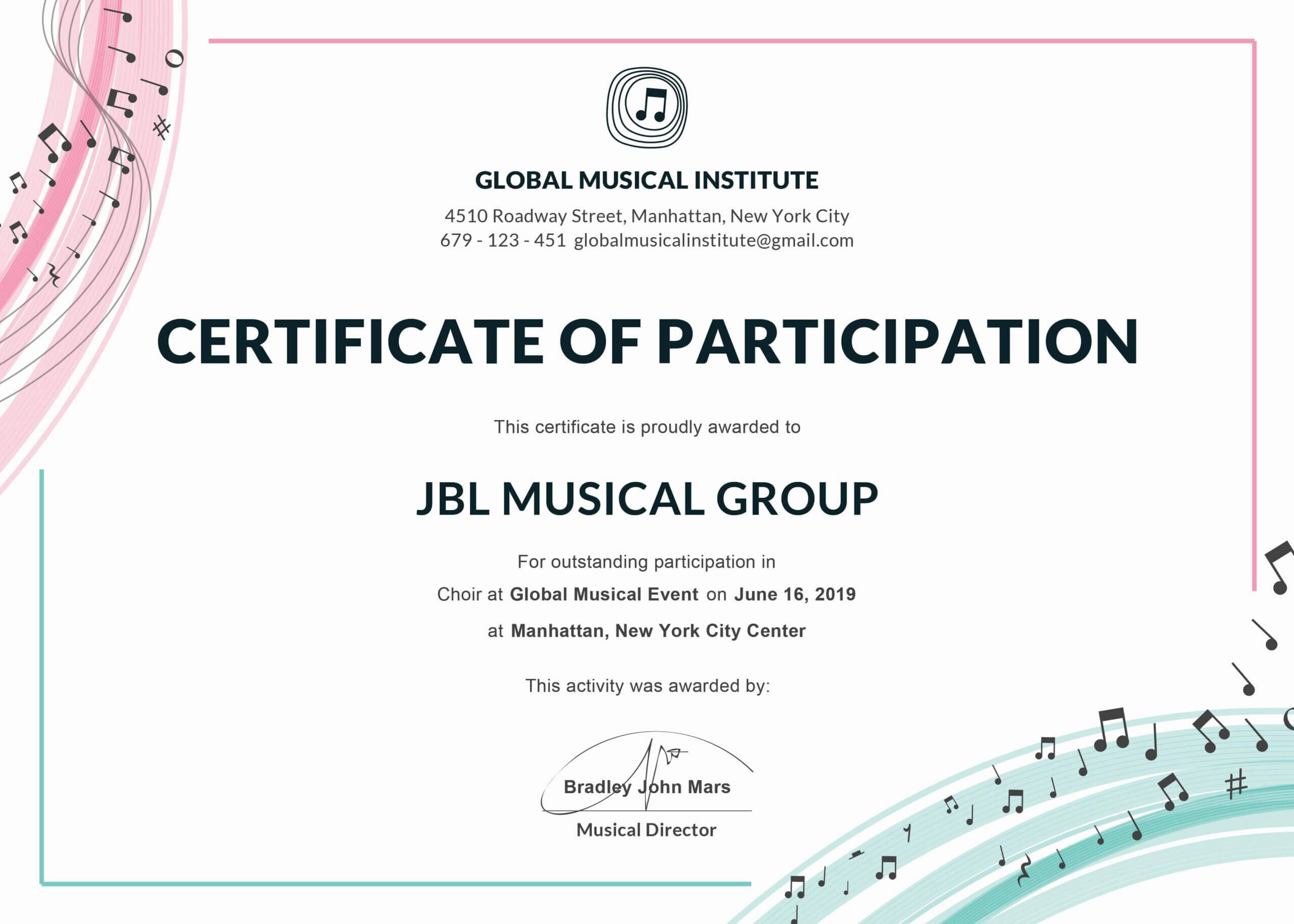 Sports Certificate Templates Free Printable Brochure Throughout Choir Certificate Template