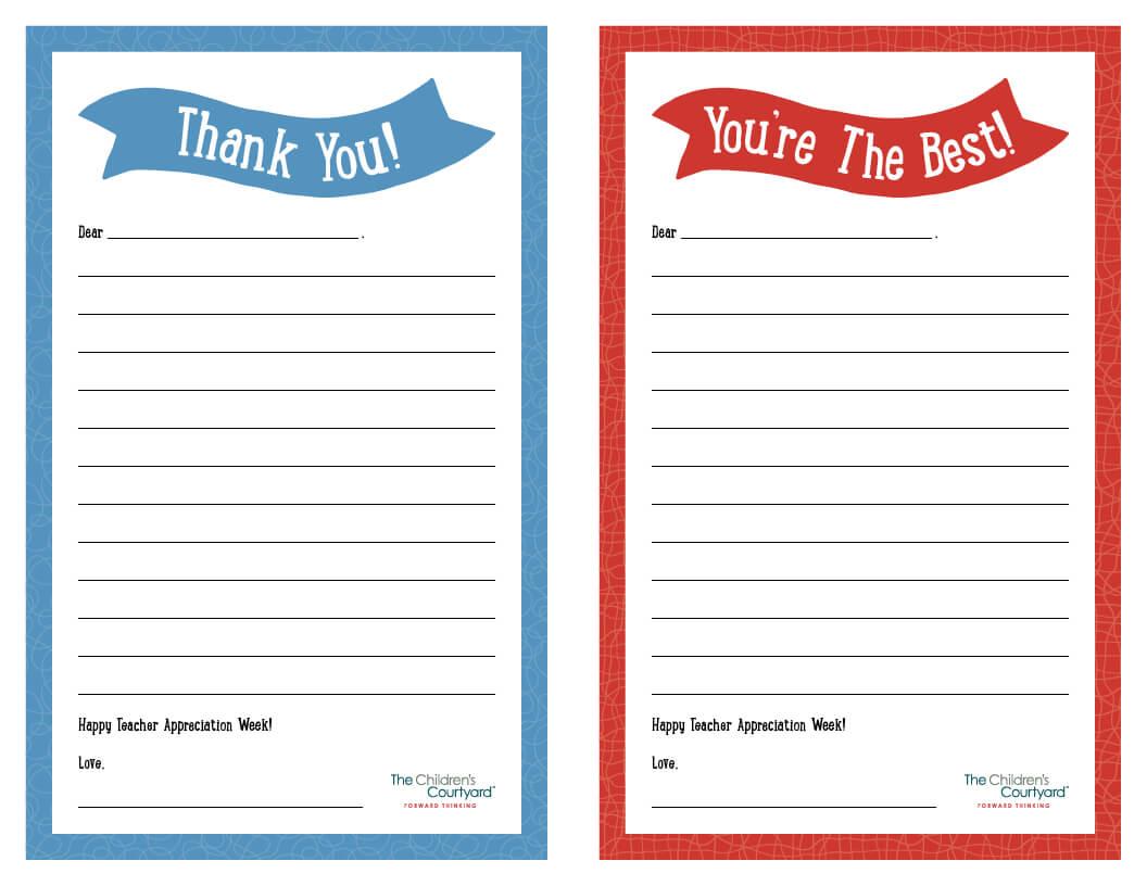 "Teacher Appreciation Week – Printable ""Thank You"" Notes Inside Thank You Card For Teacher Template"