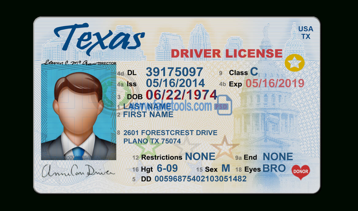 Texas Driver License Psd Template Pertaining To Texas Id Card Template