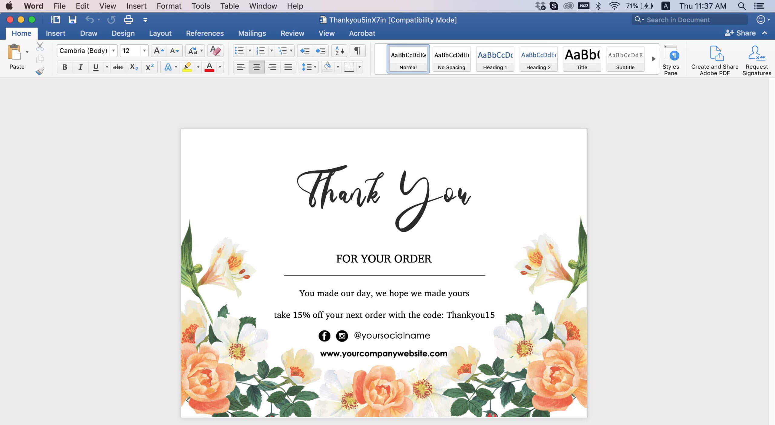 Thank You Card Template Word - Professional Template Ideas