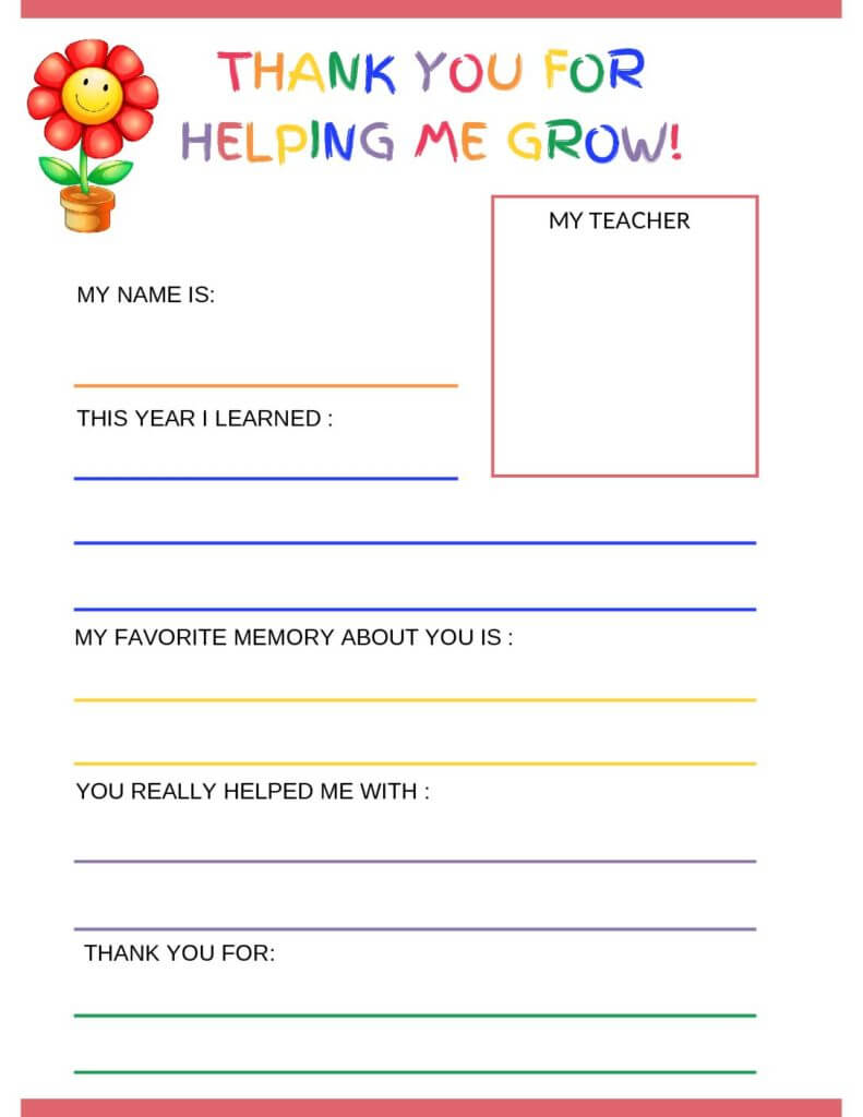 Thank You Letter To Teacher From Student - Free Printable Intended For Thank You Card For Teacher Template